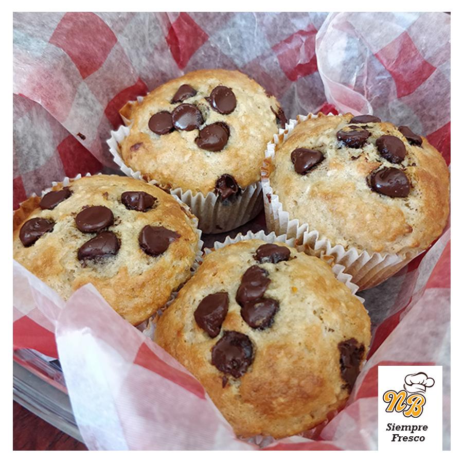 Muffins de avena y chispas de chocolate